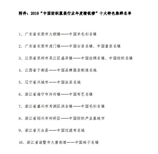 """大朗毛织获评""""2019年中国纺织服装行业年度精锐榜十大特色集群"""""""